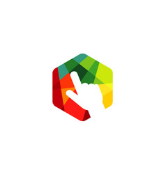 multicolor hexagon click logo vector image