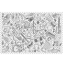 music doodle set vector image