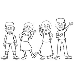 muslim boy and girl with happy face vector image