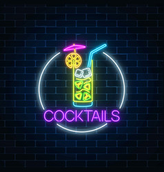 Neon cocktail glass sign in circle frame glowing vector