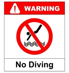 No diving sign prohibition symbol in red vector image
