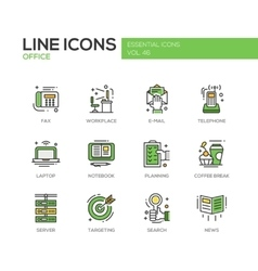Office - flat design line icons set vector image