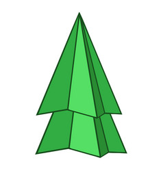 Origami fir tree icon cartoon style vector