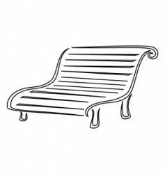 Park bench contours vector
