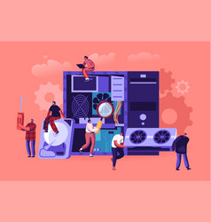 Pc hardware fixing service concept tiny vector