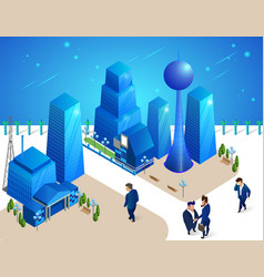 People characters move among futuristic buildings vector