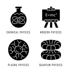 Physics branches glyph icons set chemical modern vector