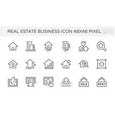 Real estate business icon set 48x48 pixel vector