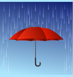 Red umbrella and rain drops vector image