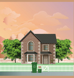 residential detached house recycling day vector image