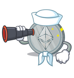 Sailor with binocular ethereum coin character vector