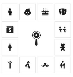 Set of 13 editable kin icons includes symbols vector
