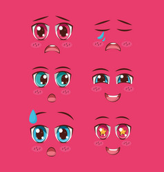 set of faces anime vector image