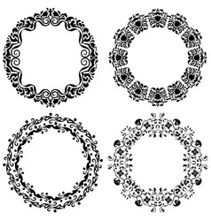 Set of four grafic beautiful frames in black vector