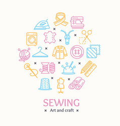 sewing and needlework tools color round design vector image