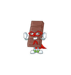 Smiley mascot chocolate bar dressed as a super vector