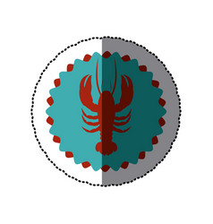 Sticker color circular frame with lobster vector