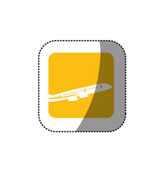 Sticker color square button with contour airplane vector