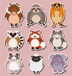 Sticker design for wild animals vector