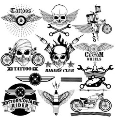 Tattoo art design of skull bike rider collection vector