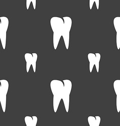 tooth icon Seamless pattern on a gray background vector image