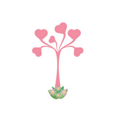 tree shape heart leaves romantic vector image