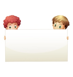 Two boys holding an empty banner vector