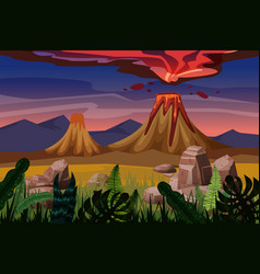 Volcano eruption background landscape plain vector