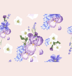 Winter bloom pattern design with anemone vector