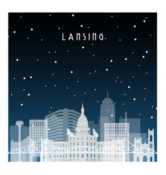 winter night in lansing night city in flat style vector image