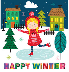 Winter poster with skating girl in town vector