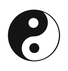Ying yang black simple icon vector