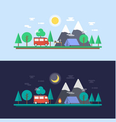 470day and night camp vector image