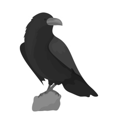 Crow of viking god icon in monochrome style vector image vector image