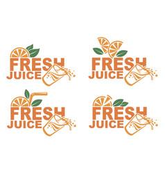fresh juice emblems vector image
