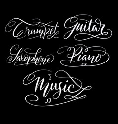 music hand written typography vector image vector image