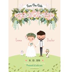 Rustic wedding couple invitation card floral vector image vector image