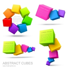 Set of colorful cubes 3D vector image vector image