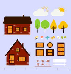 house of red brick vector image