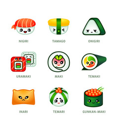 kawaii sushi bar icons vector image