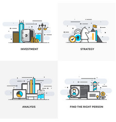 flat line designed concepts 7-colored vector image vector image
