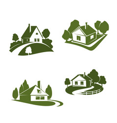 green eco house icon for real estate design vector image