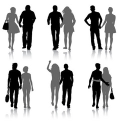 set couples man and woman silhouettes on a white vector image vector image