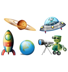 Spaceships and robots vector image