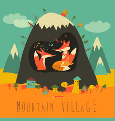 cute village by the mountain with foxes inside the vector image