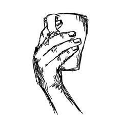 hand holding cup of tea or coffee vector image