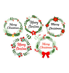 new year greeting card elements christmas wreath vector image vector image