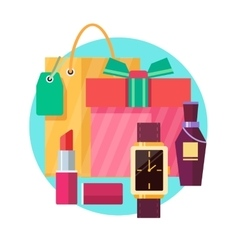 Set of gift box and bag with various gifts in flat vector image vector image