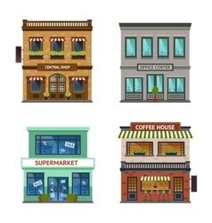 Vintage shop store office set vector image