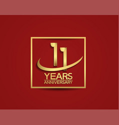 11 years anniversary with square and swoosh vector